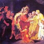 И.А. Акимов. Великий князь Святослав, целующий мать и детей своих по возвращении с Дуная в Киев. 1773 г.