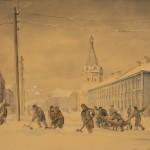 """Крестьянская улица. Из серии """"Ярославль в дни отечественной войны"""". 1944 г."""
